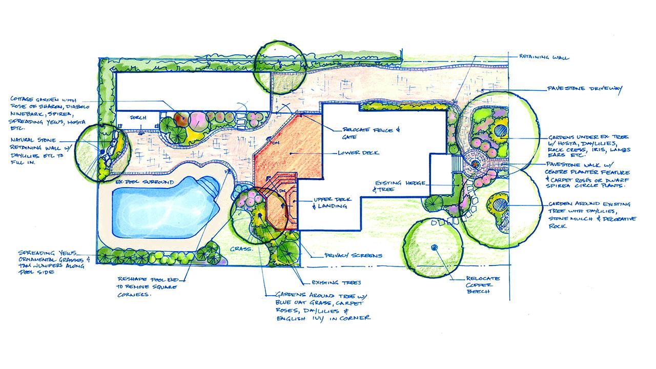 Portfolio slide show of landscape plans entire yard for Plan landscape my yard